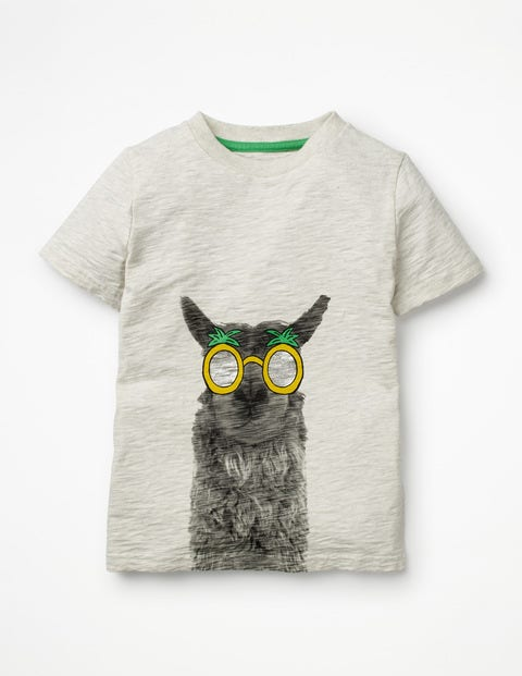 Animal Graphic T-Shirt - Oatmeal Photographic Llama