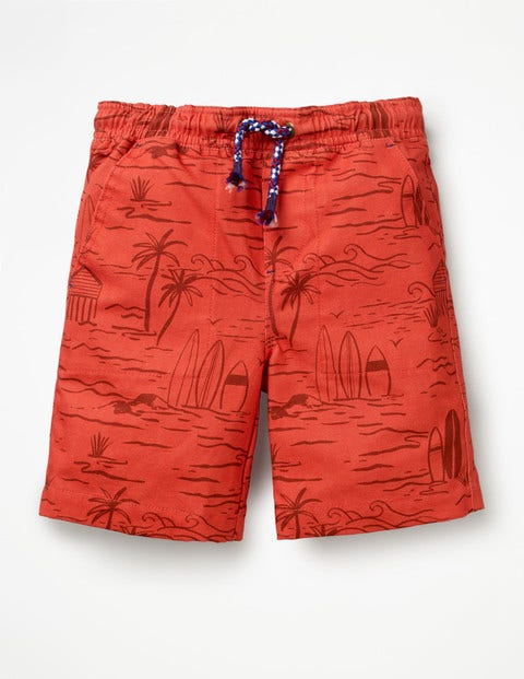 Washed Canvas Pull-On Shorts - Baked Coral Beach Scene