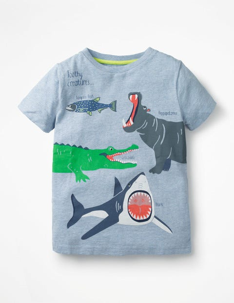 b0bf17d7c645 Wild Animals T-Shirt - Blue Marl Toothy Creatures | Boden US