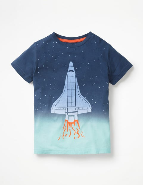 Dip Dye Space T-Shirt - College Blue Dip Dye Rocket