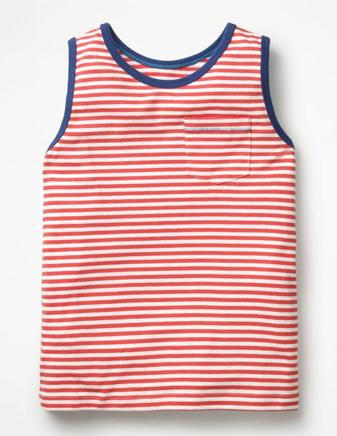 Stripy Vest - White/Jam Red