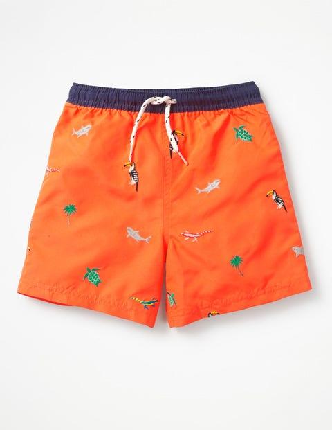 Deep Sea Embroidered Trunks - Acid Orange Embroidery