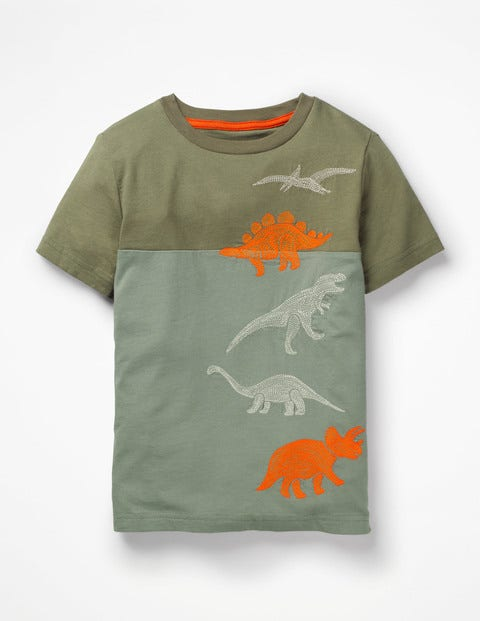 Embroidered Motif T-Shirt - Pottery Green Dinosaurs
