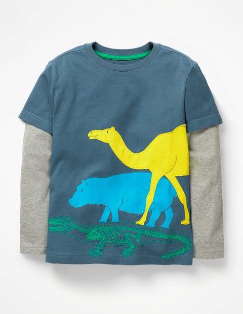 Textured Animal T-Shirt - Lagoon Blue Mammals