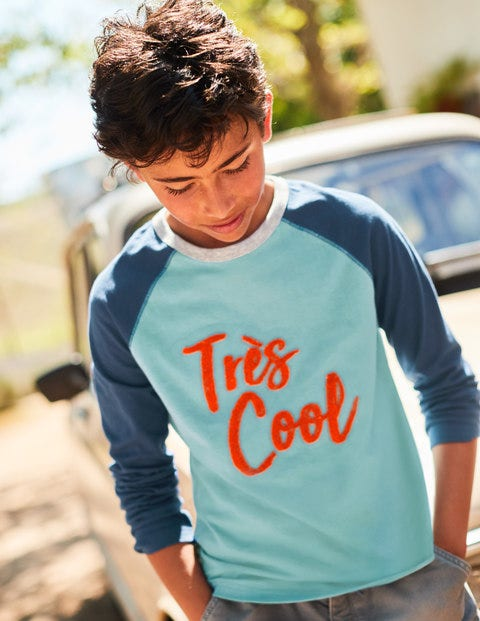 Textured Raglan T-Shirt - Ocean Scene Blue Très Cool