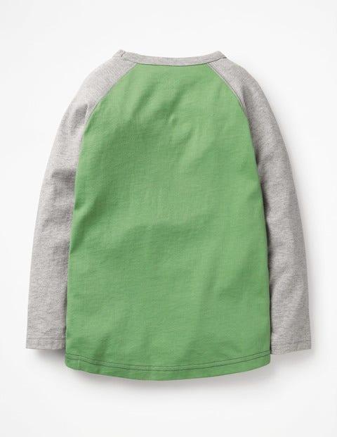 strukturiertes t shirt mit raglan rmeln dschungelgr n. Black Bedroom Furniture Sets. Home Design Ideas