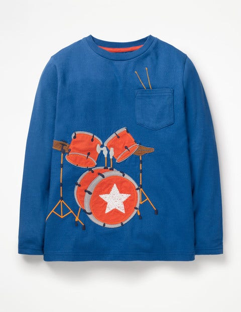 Music Appliqué T-Shirt - Duke Blue Drumkit