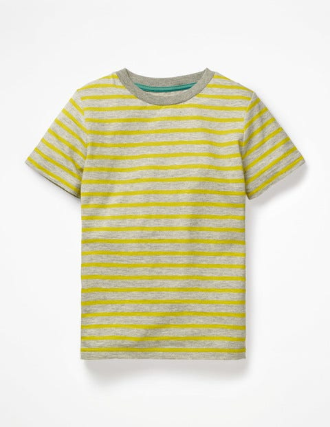 Slub Washed T-Shirt - Grey Marl/Celery Yellow