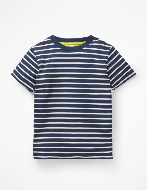 T-Shirt Délavé En Tissu Flammé - Bleu universitaire/écru