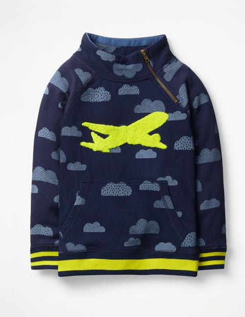 Raglan Zip Popover Sweatshirt - College Blue Clouds
