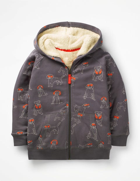Shaggy-Lined Zip-Up Hoodie - Pewter Grey DJ Dogs
