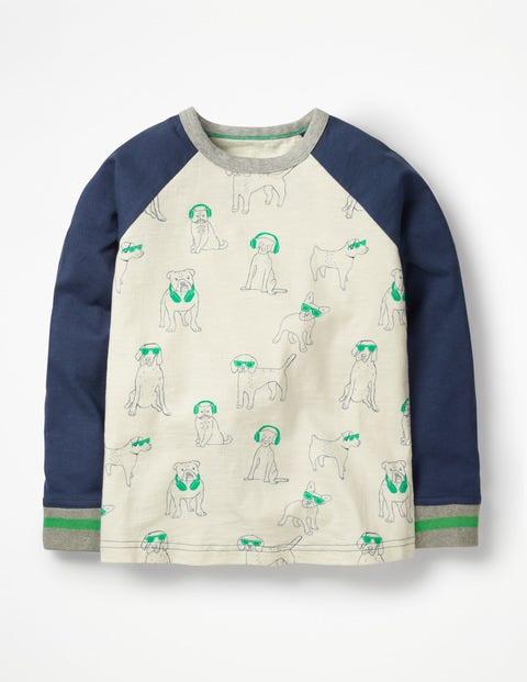 Printed Raglan T-Shirt - Ecru DJ Dogs