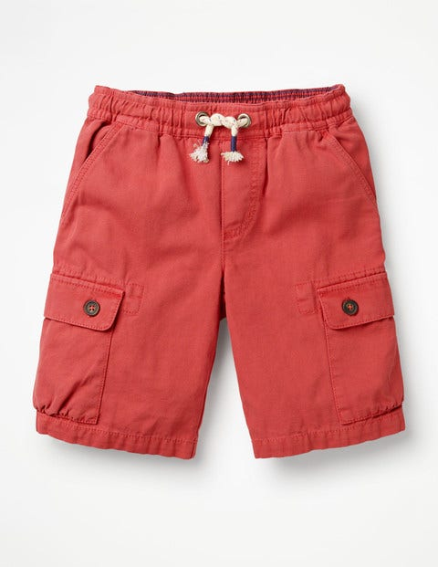 Pull-On Cargo Shorts - Washed Red
