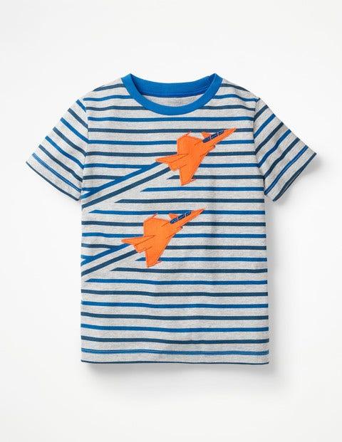 T-Shirt Mit Streifen - Dunkelblau/Grau Meliert, Flugzeuge