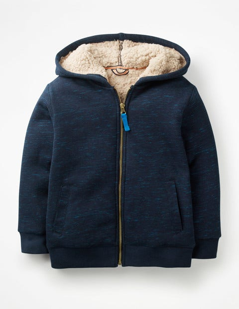 Borg-Lined Zip-Up Hoodie - College Blue