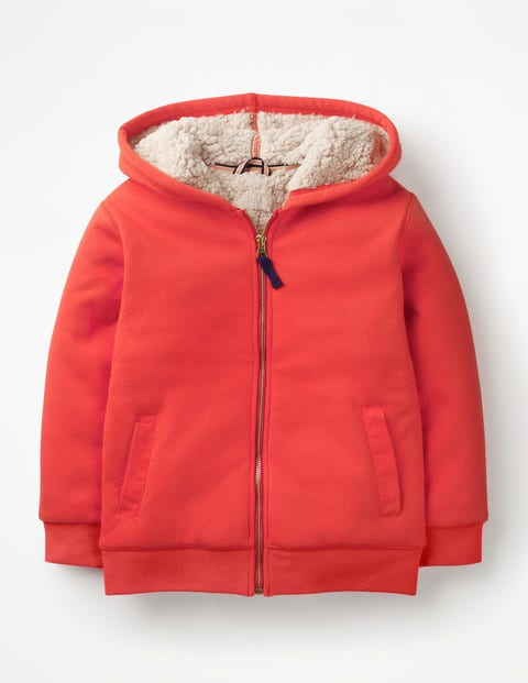 Borg-Lined Zip-Up Hoodie - Beam Red