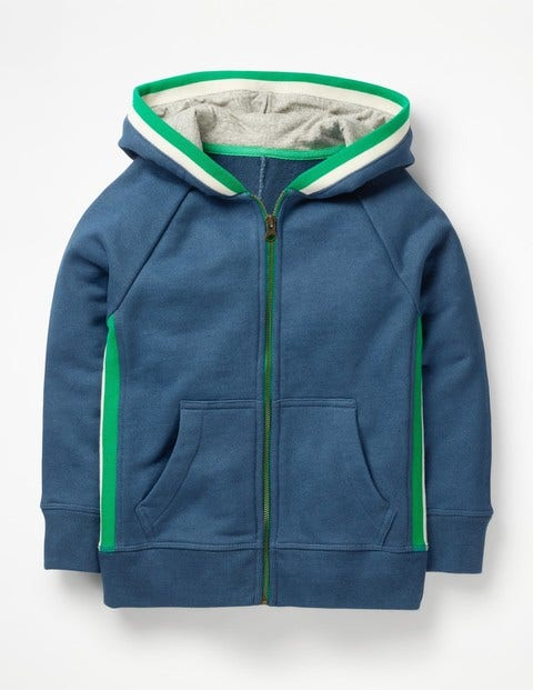 Sports Stripe Zip-Up Hoodie - Lagoon Blue