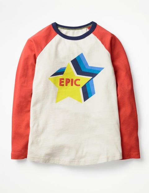 Knalliges Raglan-T-Shirt - Ecru, Epischer Stern