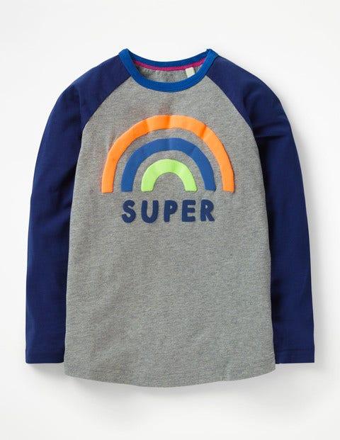 Pop Raglan T-Shirt - Grey Marl Super Rainbow
