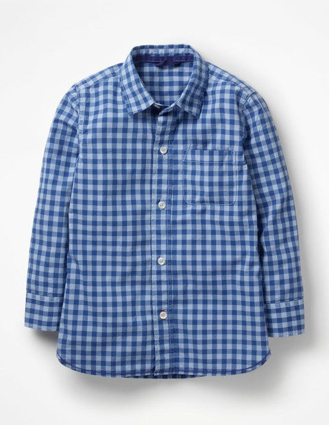 Garment-Dyed Laundered Shirt - Washed Blue Gingham