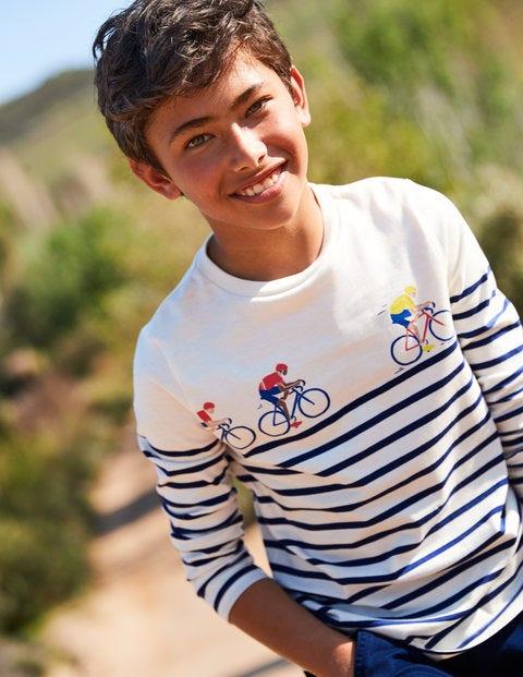 Breton-T-Shirt Für Rennfahrer - Ecru/Dunkelblau, Radfahrer
