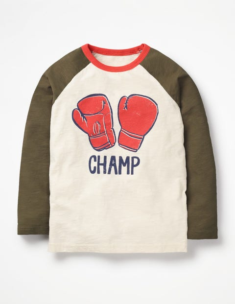 Super Raglan T-Shirt - Ecru Boxing Gloves