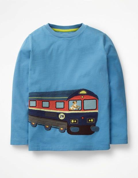 Vehicle Appliqué T-Shirt - Lake Blue Train