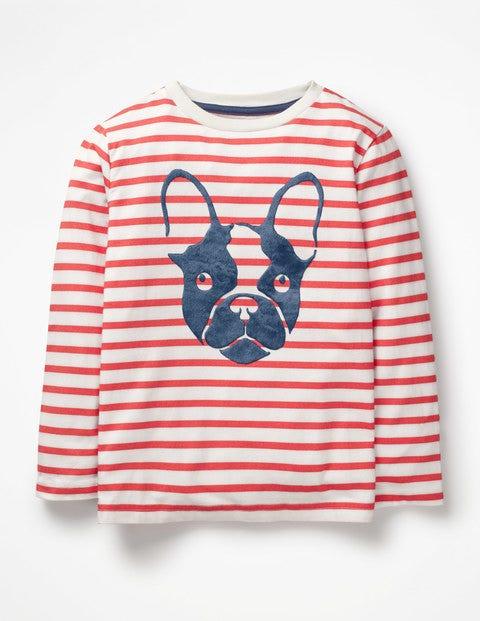 Furry Animal T-Shirt - Ecru/Jam Red Bulldog