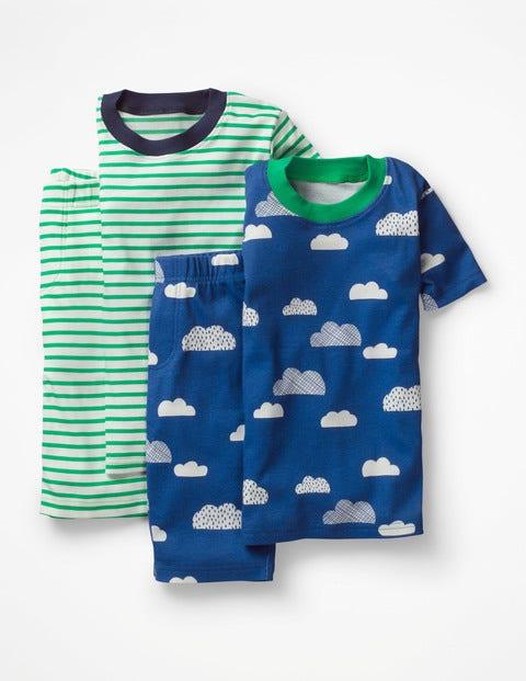 Twin Pack Short John Pyjamas - Duke Blue Cloud/Astro Green