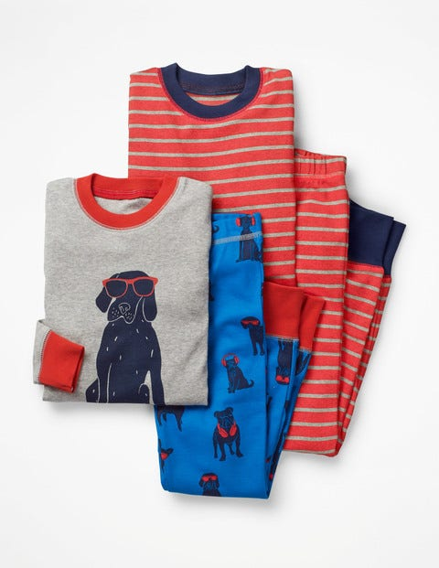 Twin Pack Long John Pyjamas - Duke Blue Dogs