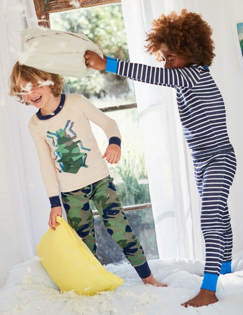 Twin Pack Long John Pyjamas - Khaki Green Camo Bug