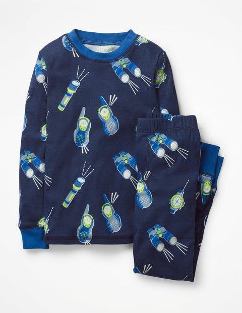 Glow-In-The-Dark Long Pajamas - College Blue Walkie Talkie