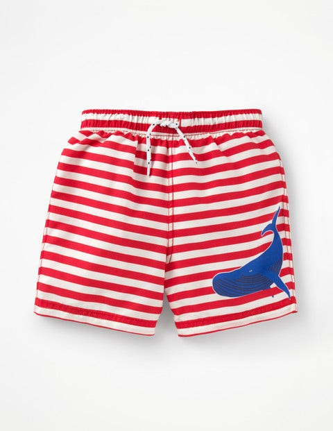Woven Swim Trunks - Beam Red/Ivory