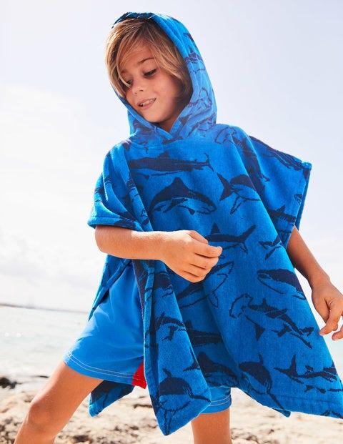 Towelling Poncho - Caspian Blue Sharks
