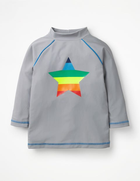 Logo Rash Guard - Misty Grey Rainbow Star