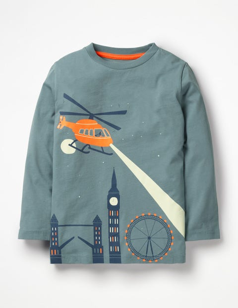Glow-In-The-Dark Scene T-Shirt - Dusty Teal Helicopter Scene