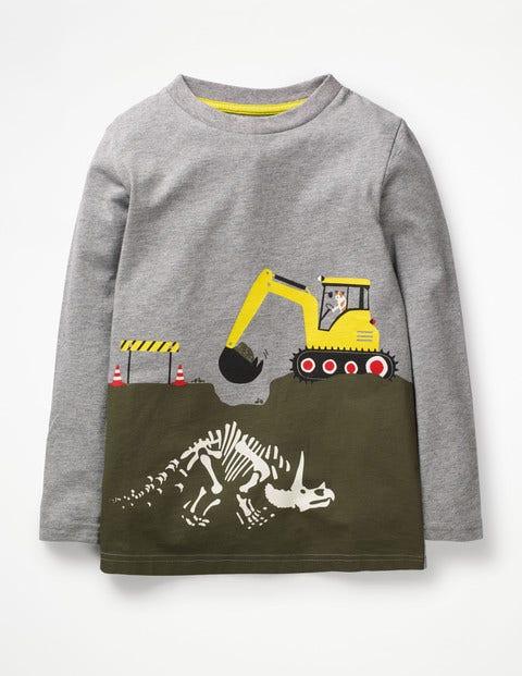 Glow-In-The-Dark Scene T-Shirt - Grey Marl Dinosaur Dig