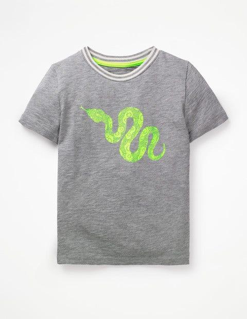 Pop Animal T-Shirt - Grey Marl Snake
