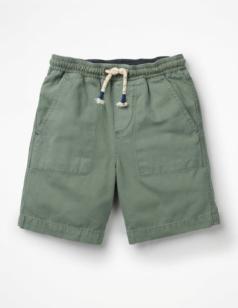 Washed Canvas Pull-On Shorts - Pottery Green