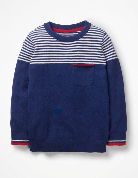 Fine Crew Sweater - Starboard Blue/Ecru