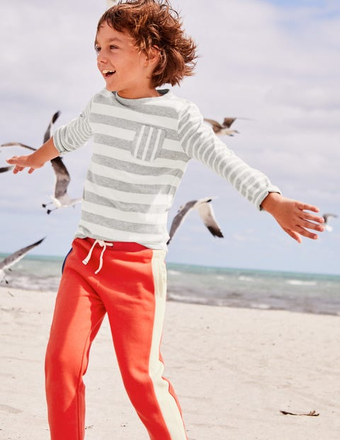 Hotchpotch Stripe T-Shirt - Grey Marl/Ecru