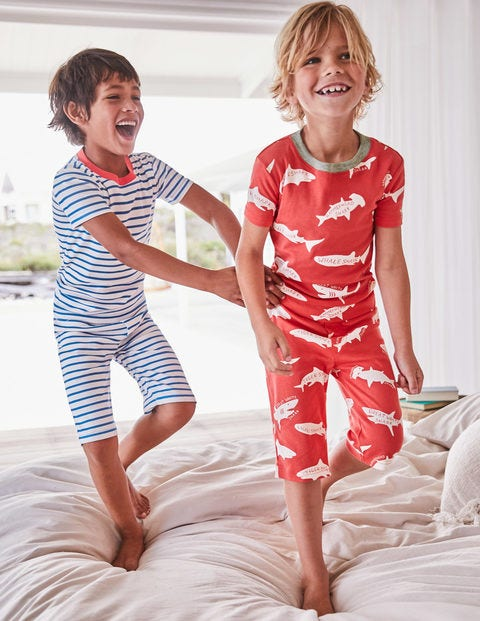 Twin Pack Short John Pajama - Jam Red Sharktastic