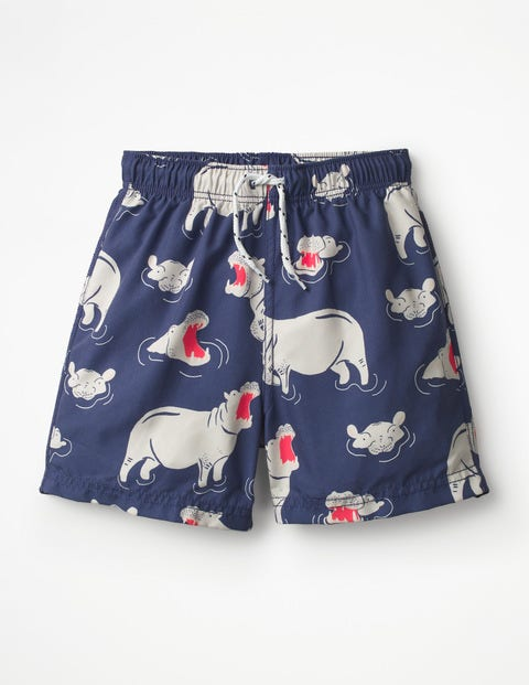 Woven Swim Trunks - College Blue Hippos