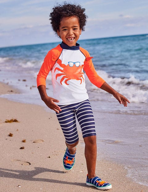 Surf Suit - White/Acid Orange Crab