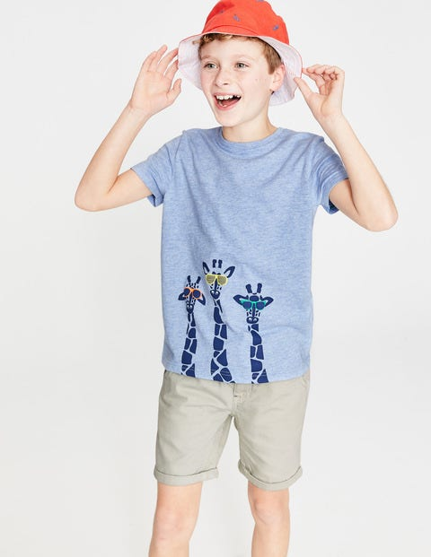 Animal Graphic T-Shirt - Provence Blue Giraffes