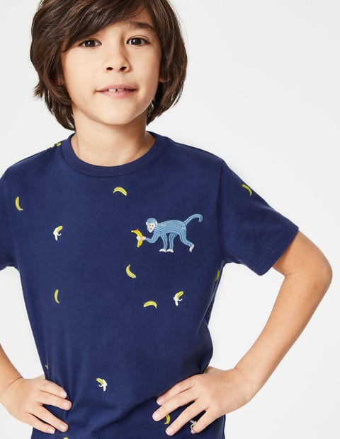 T-Shirt Mit Wilder Stickerei - Segelblau, Affe