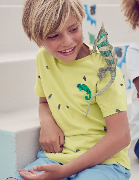 Embroidered Creature T-Shirt - Sherbert Lime Yellow Chameleon