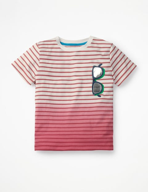 Dip-Dye Graphic T-Shirt - White/Berry Red Sunglasses