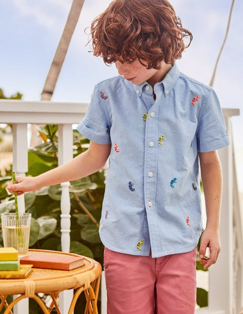 Fun Short-Sleeved Shirt - Chambray Tree Tops