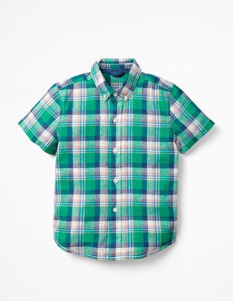 Fun Short-Sleeved Shirt - Astro Green/Lagoon Blue Check